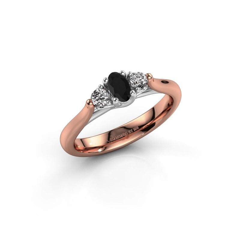 Verlovingsring Jente OVL 585 rosé goud zwarte diamant 0.436 crt