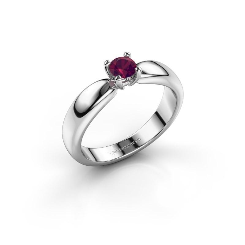 Promise ring Katrijn 585 white gold rhodolite 4.2 mm