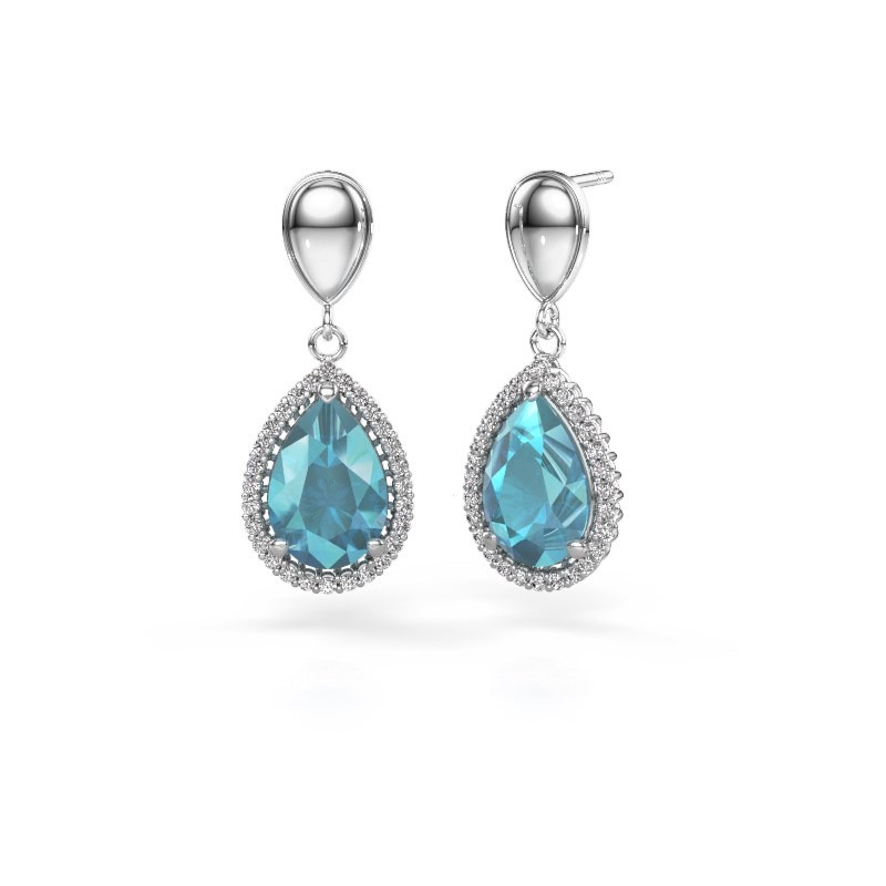 Drop earrings Cheree 1 950 platinum blue topaz 12x8 mm