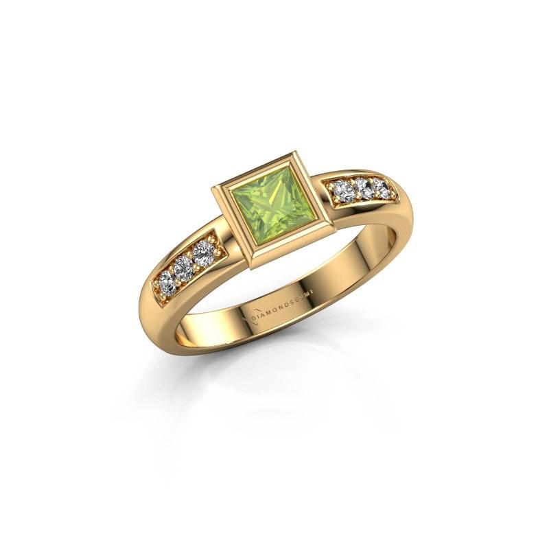 Stacking ring Lieke Square 585 gold peridot 4 mm