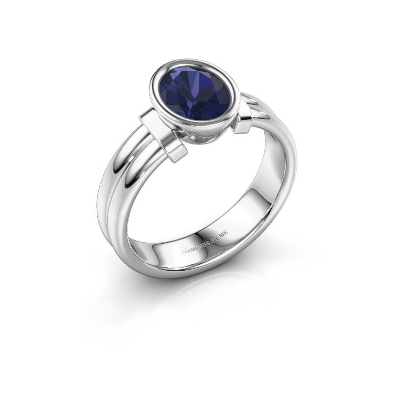 Ring Gerda 925 silver sapphire 8x6 mm