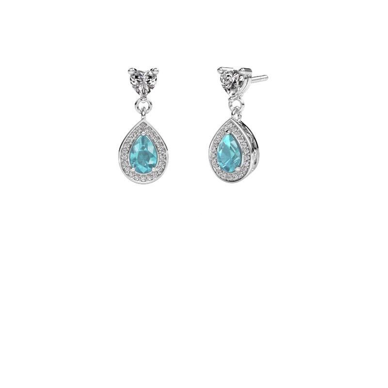 Drop earrings Susannah 585 white gold blue topaz 6x4 mm