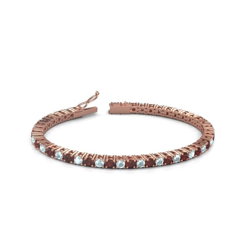 Tennisarmband Jenny 375 rosé goud granaat 3.5 mm