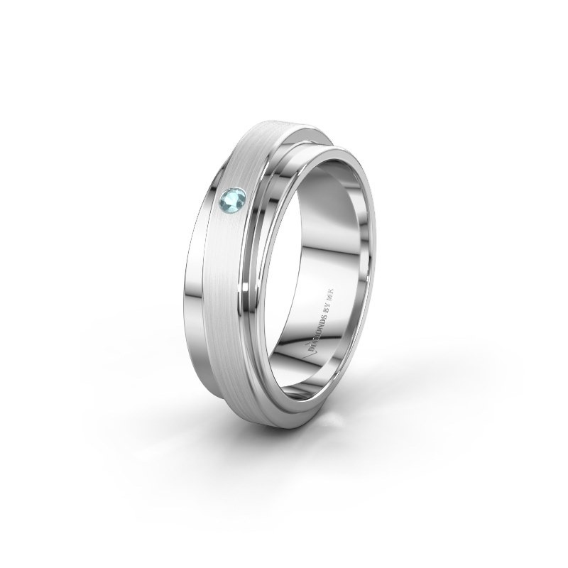 Huwelijksring WH2220L16D 585 witgoud aquamarijn ±6x2.2 mm