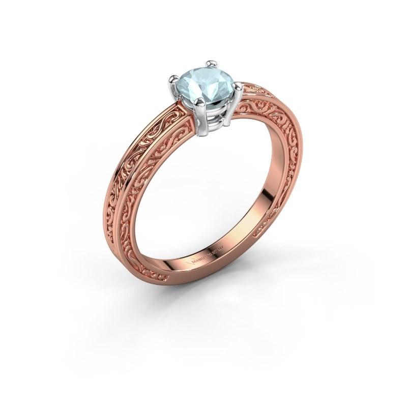 Verlovingsring Claudette 1 585 rosé goud aquamarijn 5 mm