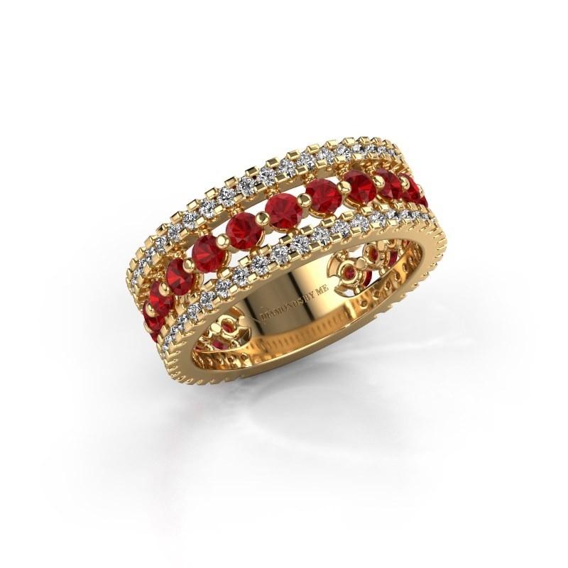 Verlovingsring Elizbeth 2 375 goud robijn 2.4 mm