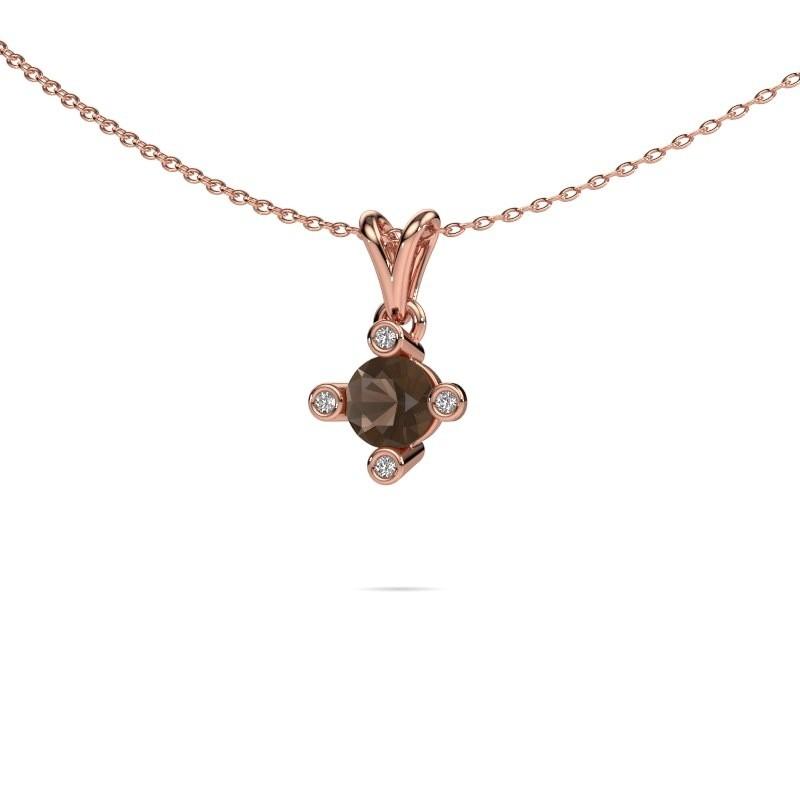 Hanger Cornelia Round 585 rosé goud rookkwarts 5.5 mm