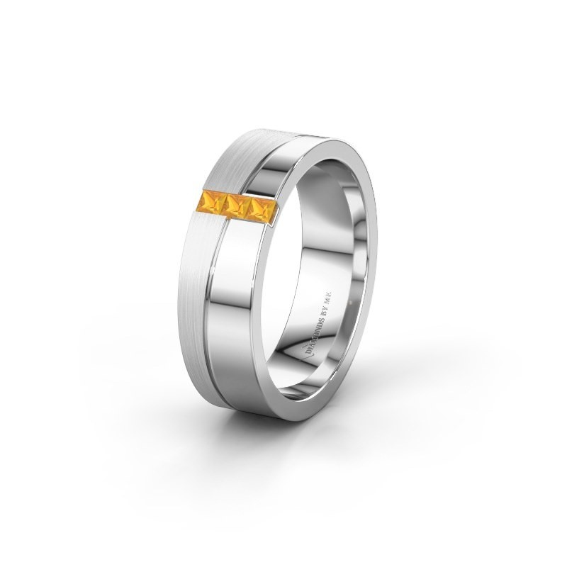 Wedding ring WH0906L16A 950 platinum citrin ±6x1.7 mm