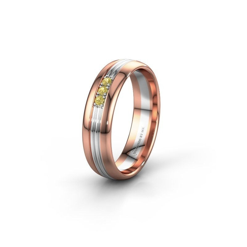 Wedding ring WH0405L35X 585 rose gold yellow sapphire ±0.20x0.06 in