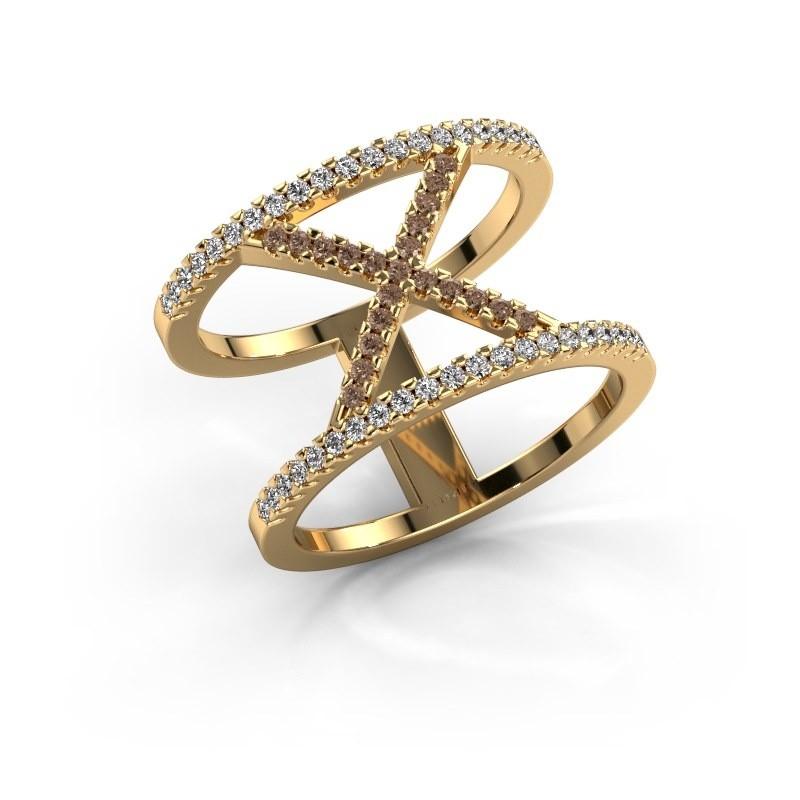 Ring Sharri 2 375 gold brown diamond 0.422 crt