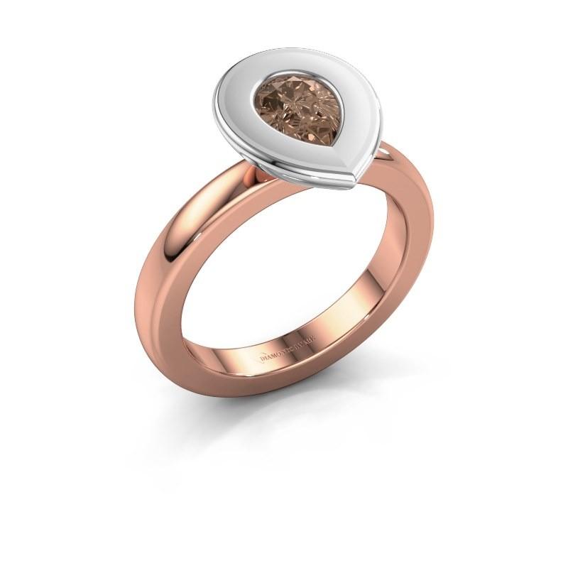 Stapelring Eloise Pear 585 rosé goud bruine diamant 0.65 crt