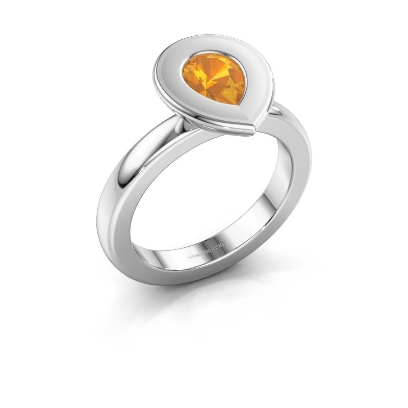 Stapelring Eloise Pear 585 witgoud citrien 7x5 mm