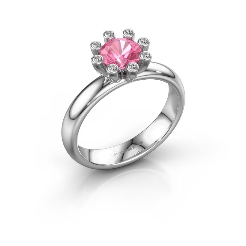 Stapelring Carola 3 585 witgoud roze saffier 6 mm
