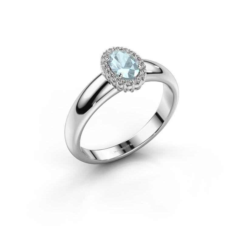 Engagement ring Tamie 950 platinum aquamarine 6x4 mm