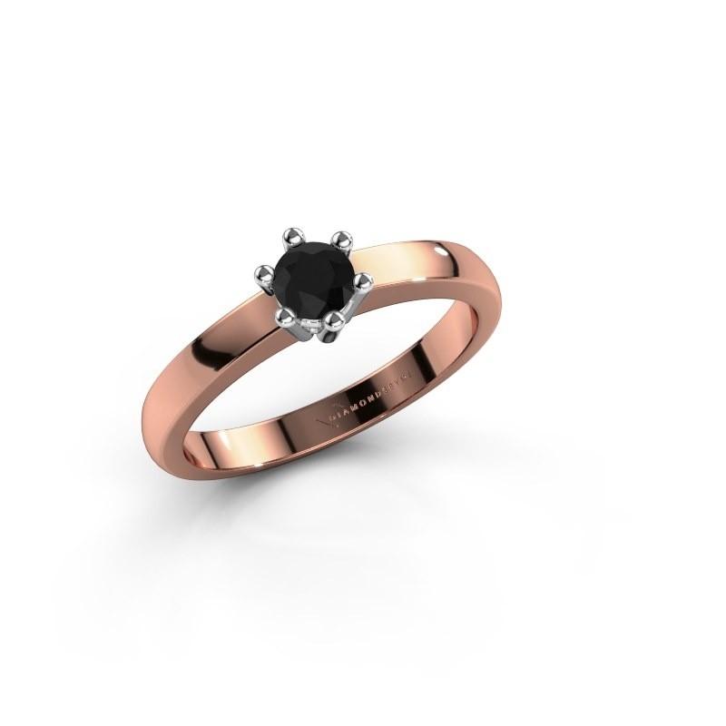 Verlovingsring Luna 1 585 rosé goud zwarte diamant 0.24 crt