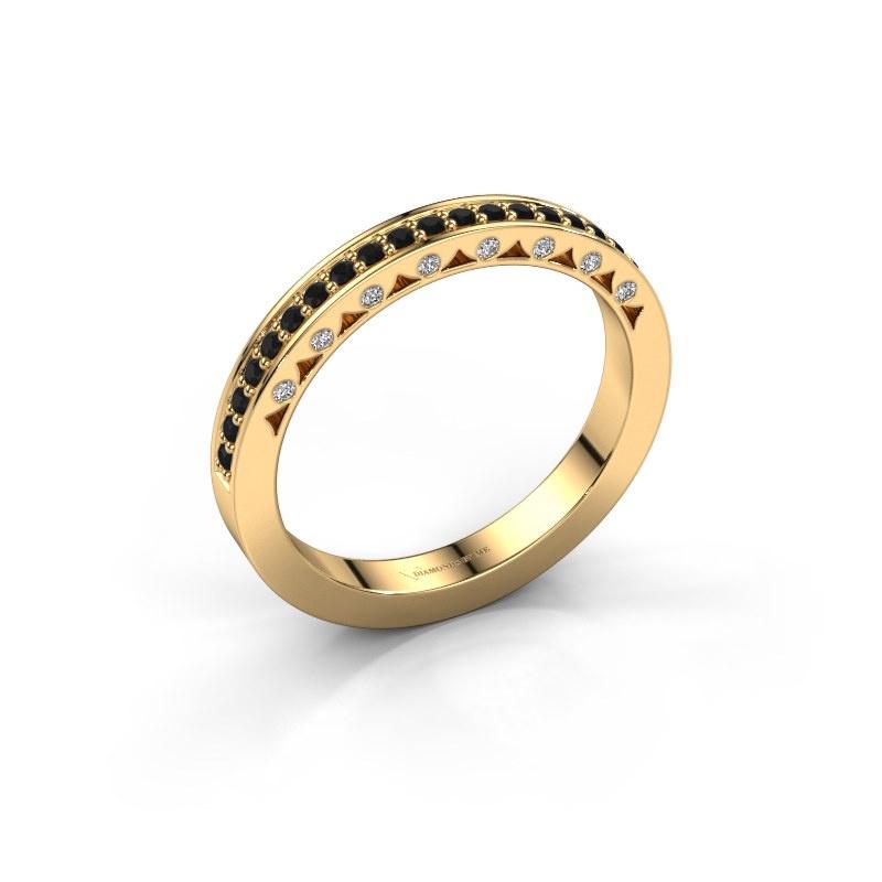Ring Yasmine 585 gold black diamond 0.278 crt