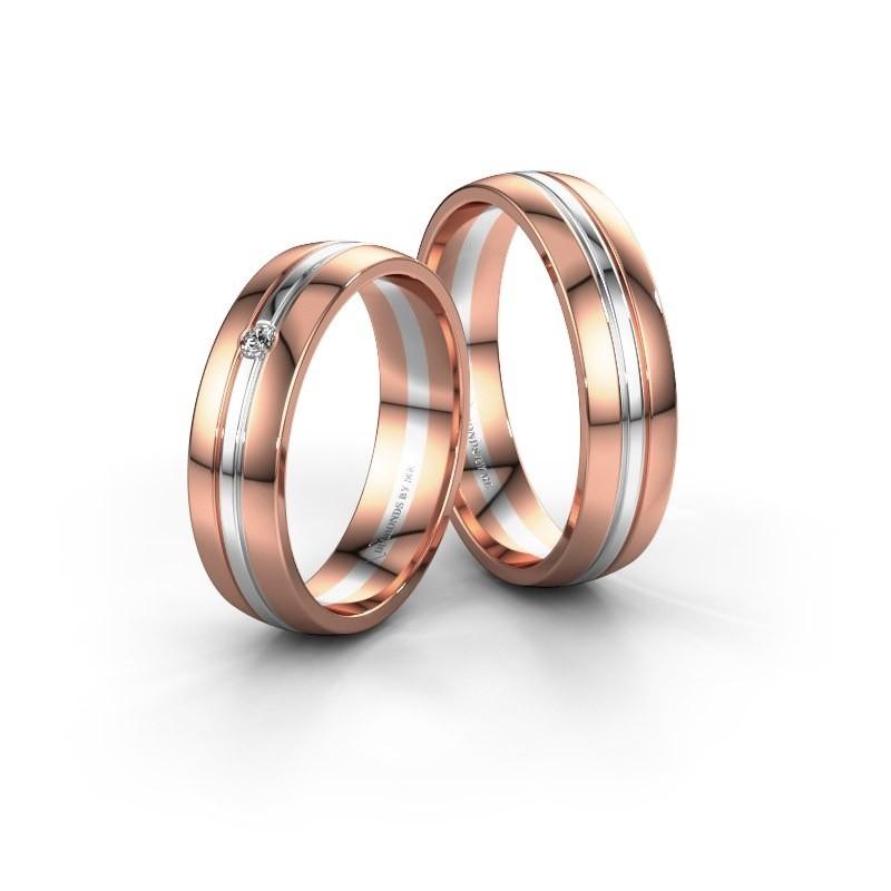 Trouwringen set WH0420LM25XP ±5x1.5 mm 14 karaat rosé goud diamant 0.03 crt