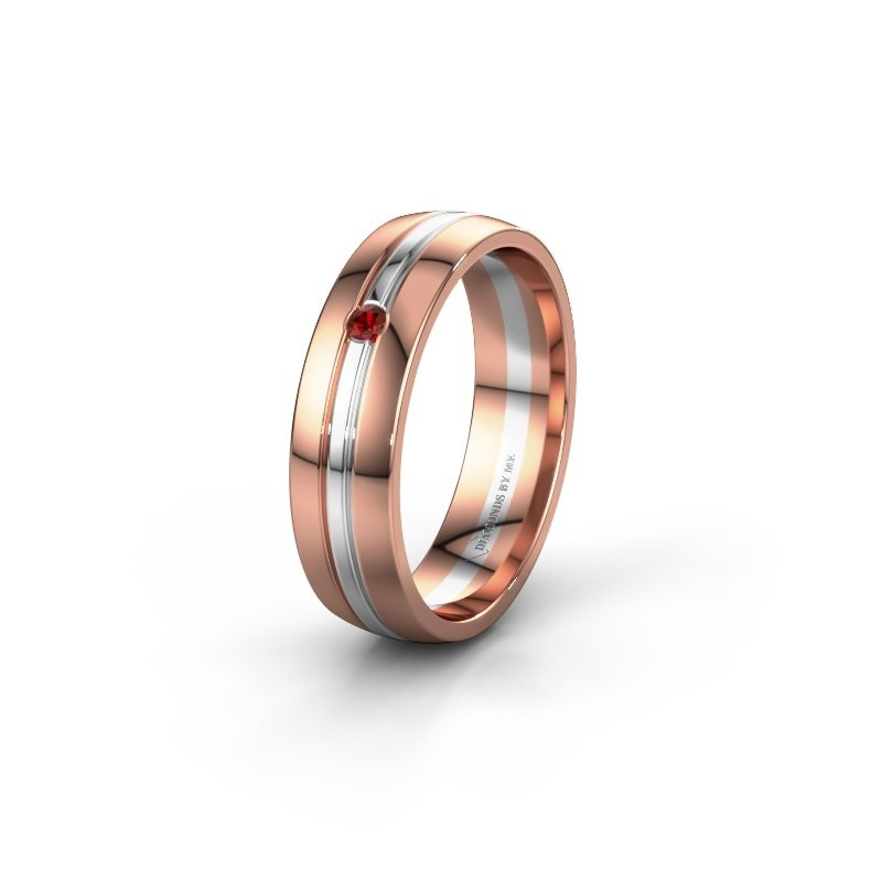 Wedding ring WH0420L25X 585 rose gold garnet ±0.20x0.06 in
