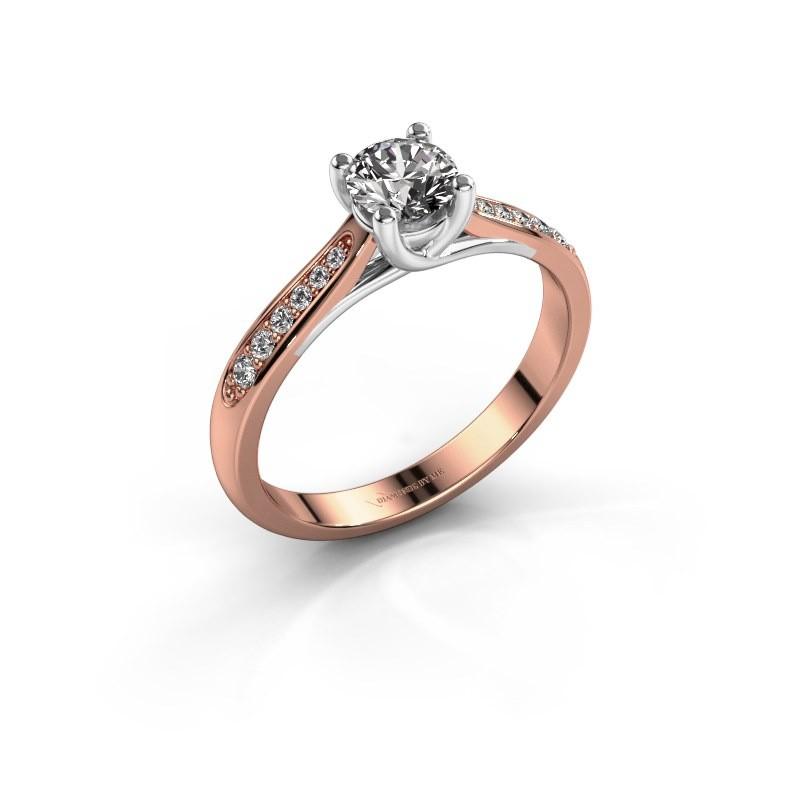 Verlovingsring Mia 2 585 rosé goud diamant 0.40 crt