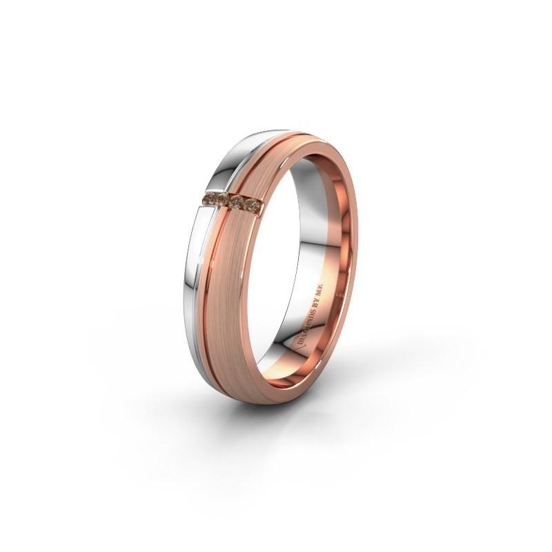 Weddings ring WH0909L25X 585 rose gold brown diamond ±5x1.5 mm