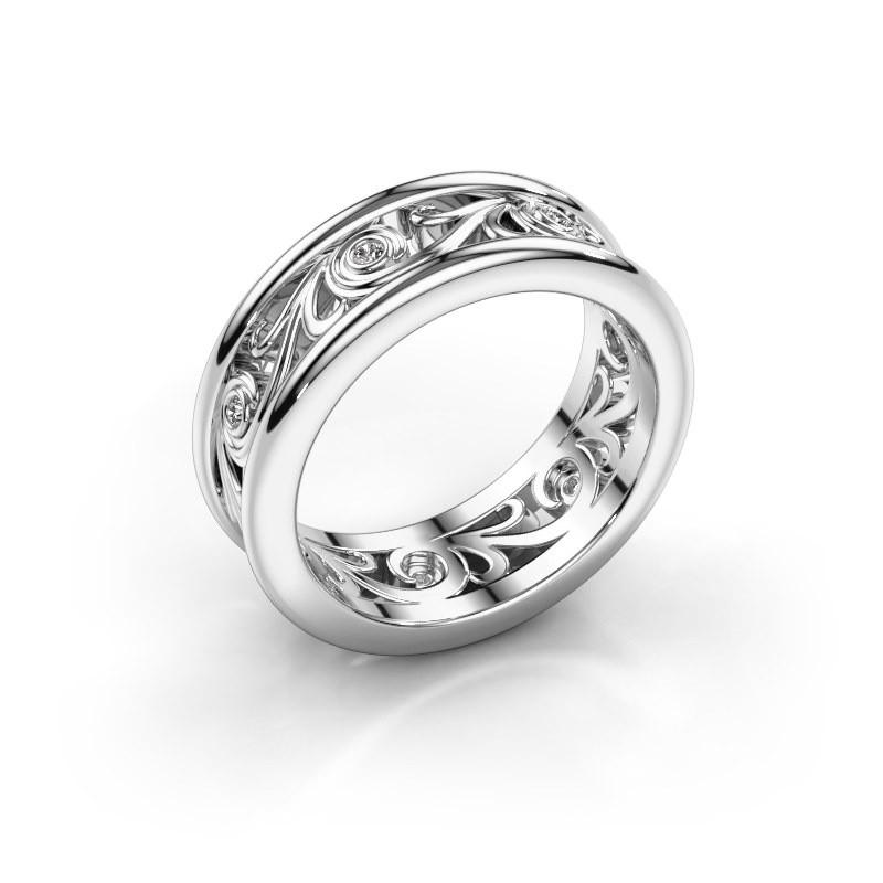 Trouwring Bibi 585 witgoud diamant ±7x2 mm