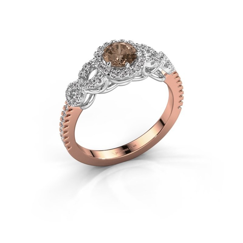 Verlovingsring Sasja 585 rosé goud bruine diamant 0.825 crt