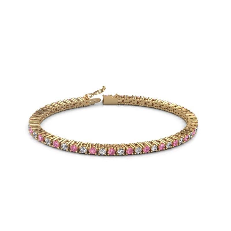 Tennis bracelet Petra 375 gold pink sapphire 3 mm
