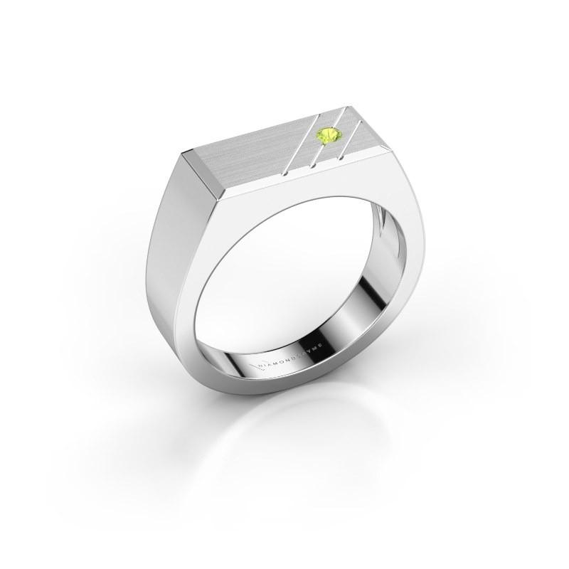 Men's ring Dree 5 585 white gold peridot 2.4 mm