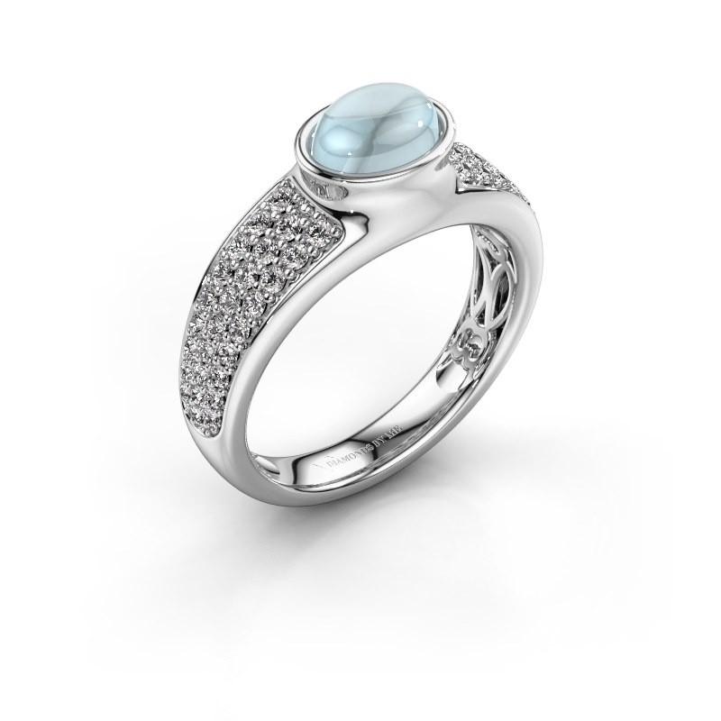 Ring Tatyana 950 platina aquamarijn 7x5 mm
