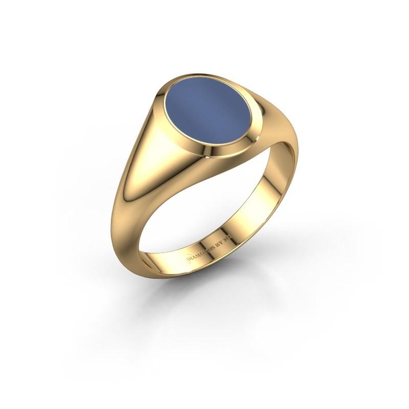 Zegelring Evon 1 585 goud blauw lagensteen 10x8 mm