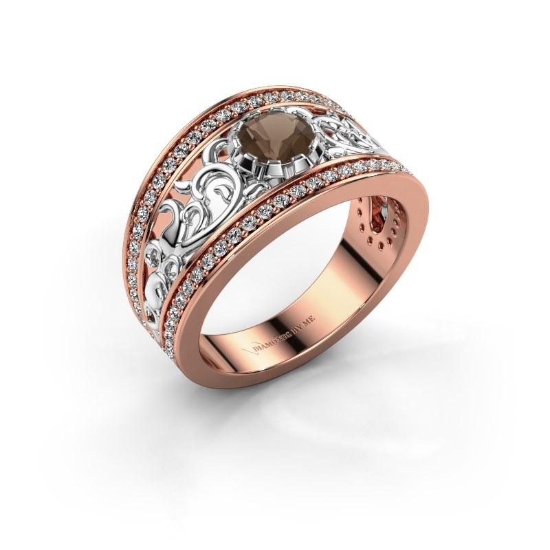 Ring Marilee 585 rosé goud rookkwarts 5 mm