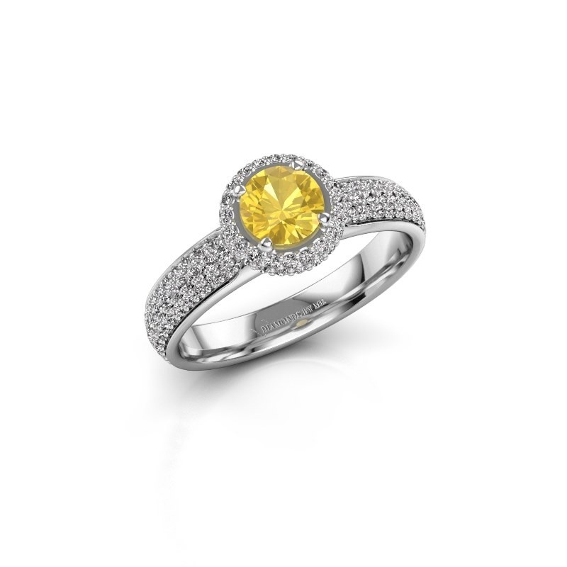 Engagement ring Mildred 925 silver yellow sapphire 5 mm