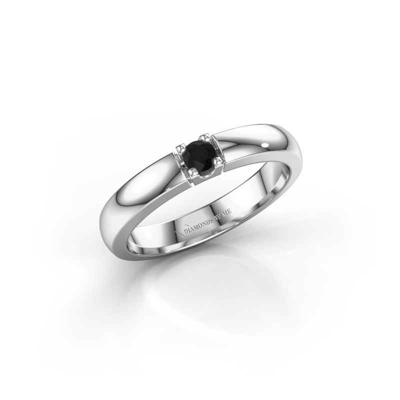 Engagement ring Rianne 1 585 white gold black diamond 0.12 crt