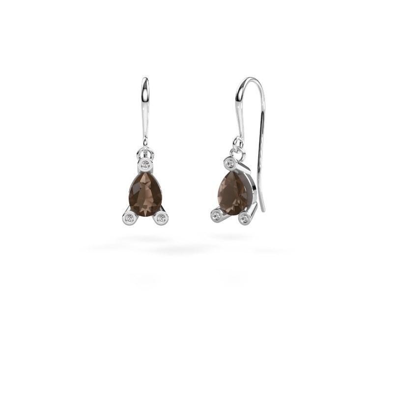 Drop earrings Bunny 1 950 platinum smokey quartz 7x5 mm