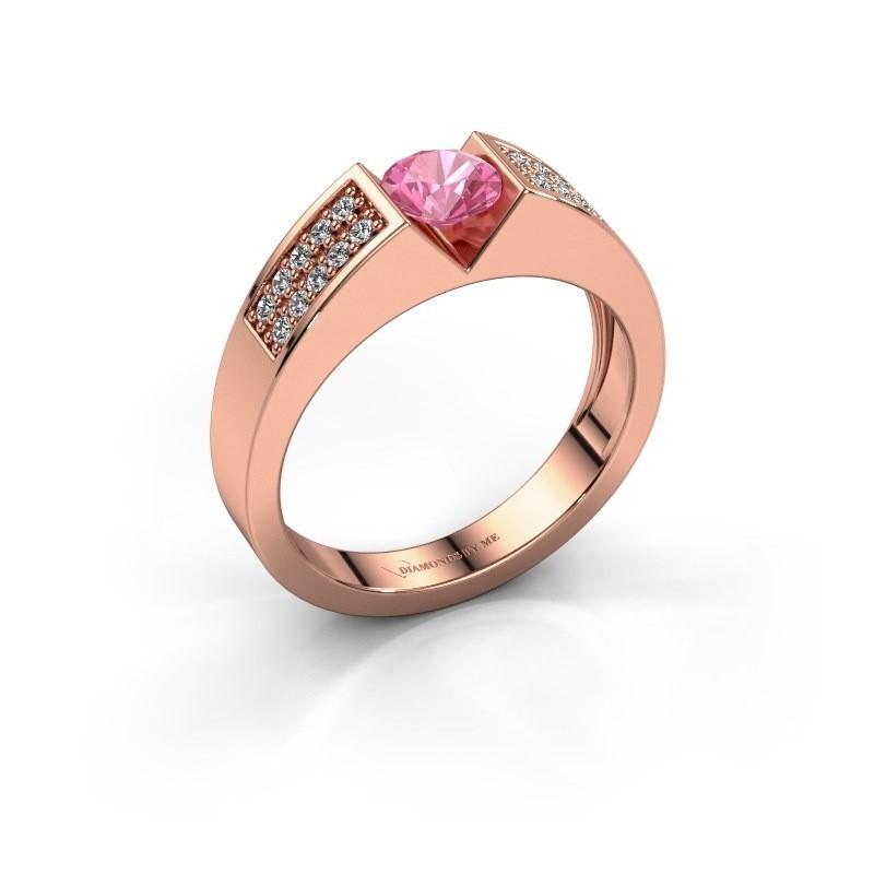 Verlovingsring Lizzy 3 375 rosé goud roze saffier 5 mm