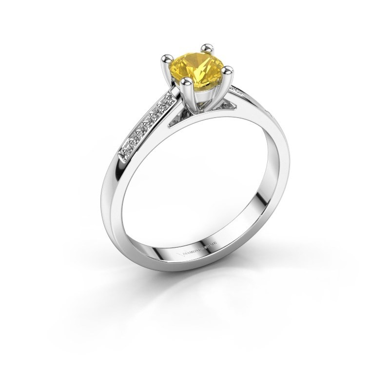 Engagement ring Nynke 585 white gold yellow sapphire 4.7 mm