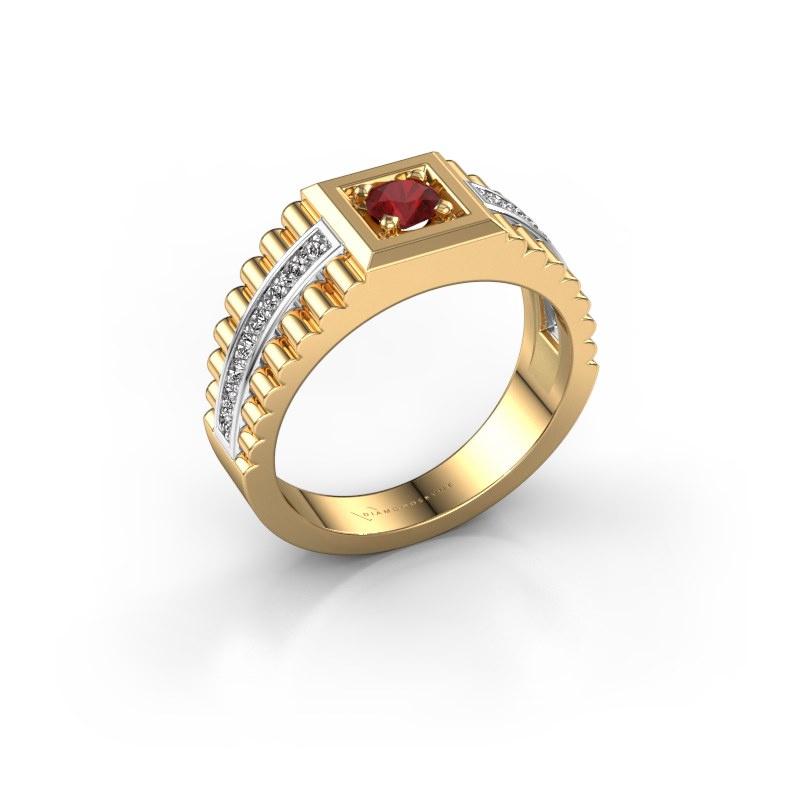 Heren ring Maikel 585 goud robijn 4.2 mm