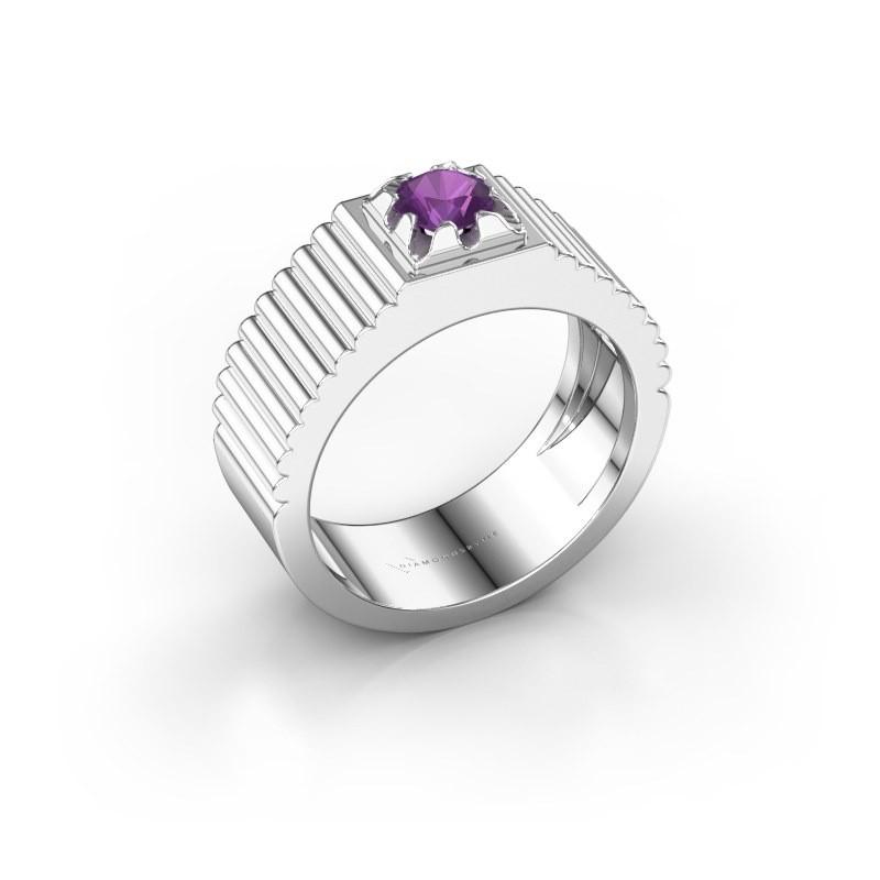 Pink ring Elias 585 witgoud amethist 5 mm