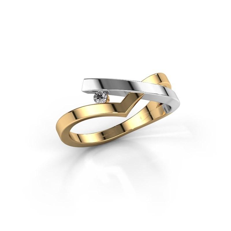 Ring Pamella 585 gold diamond 0.045 crt
