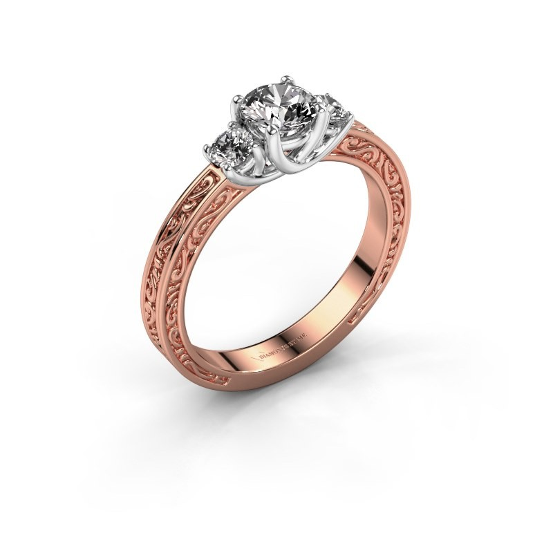 Verlovingsring Betty 1 585 rosé goud diamant 0.70 crt