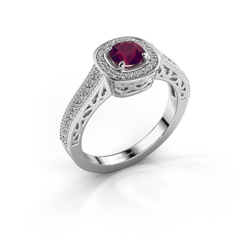 Verlovings ring Candi 950 platina rhodoliet 5 mm