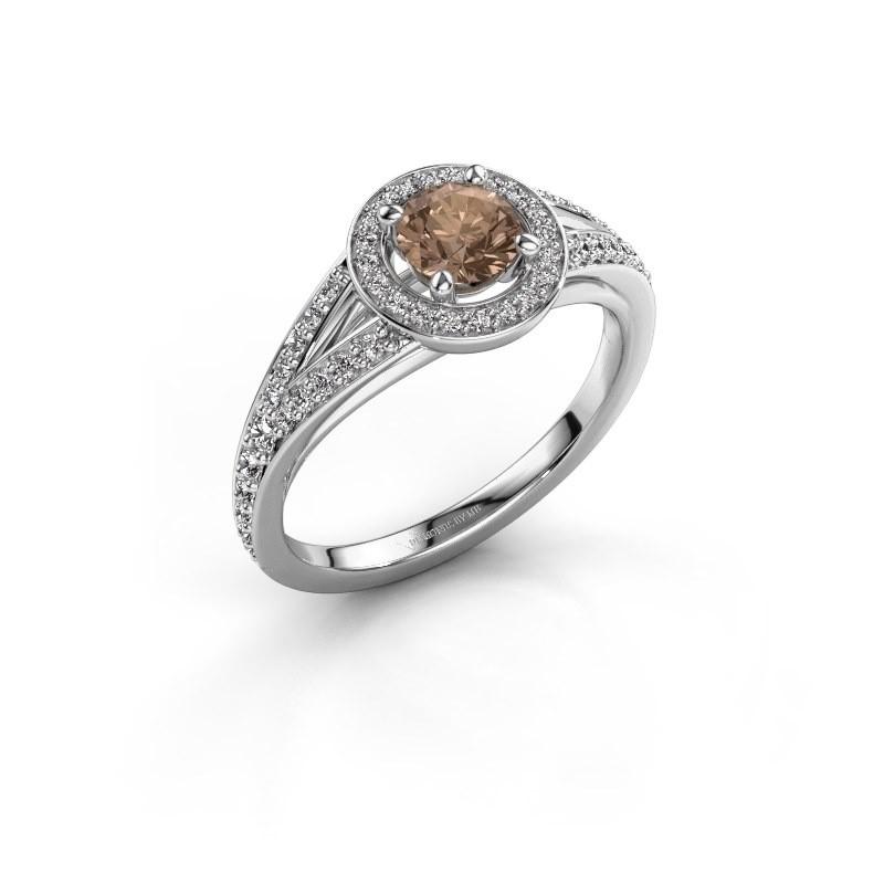 Aanzoeksring Angelita RND 585 witgoud bruine diamant 0.832 crt