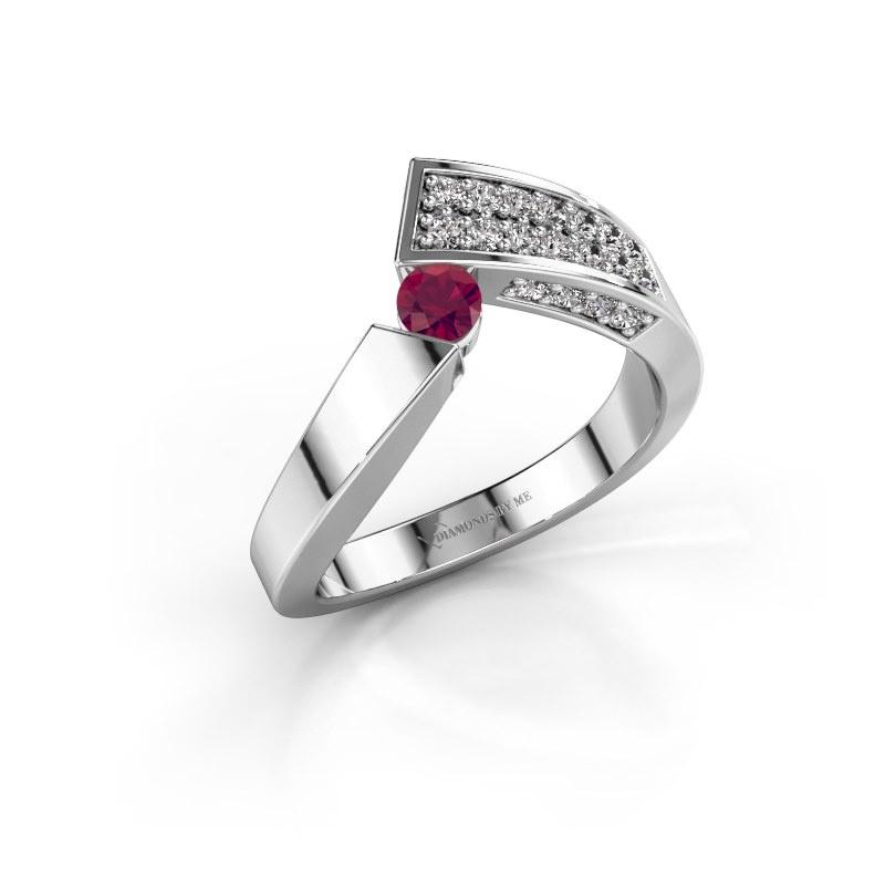 Ring Evie 925 silver rhodolite 3.4 mm