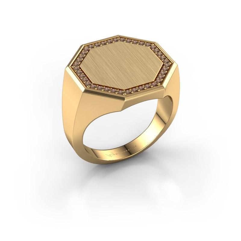 Men's ring Floris Octa 4 585 gold brown diamond 0.30 crt