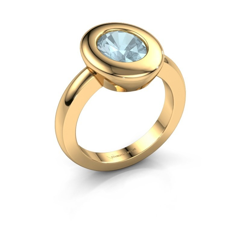 Ring Selene 1 585 goud aquamarijn 9x7 mm