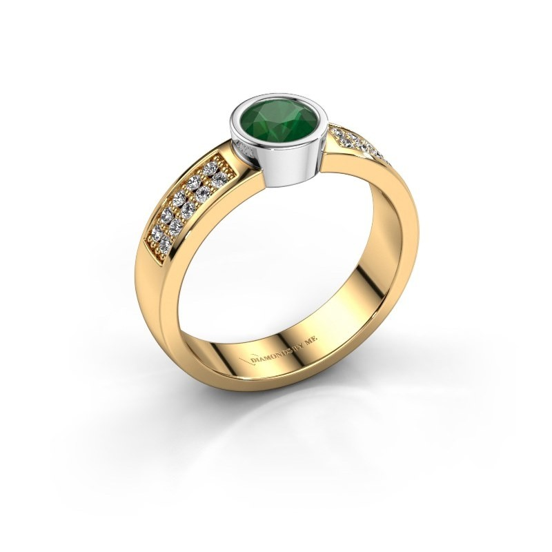 Verlovingsring Ise 3 585 goud smaragd 4.7 mm