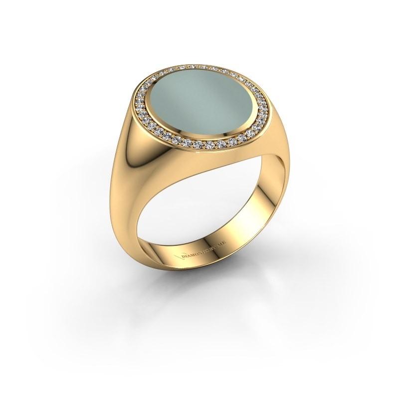 Zegel ring Adam 3 585 goud groene lagensteen 13x11 mm