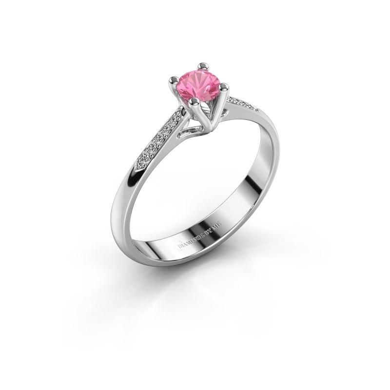 Promise ring Janna 2 585 witgoud roze saffier 4 mm