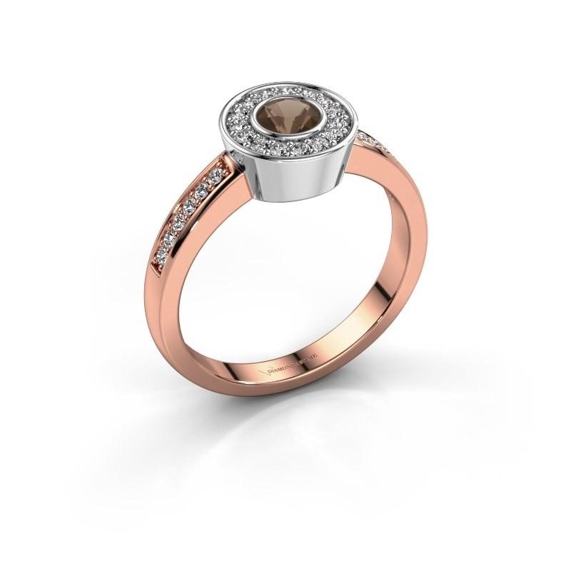 Ring Adriana 2 585 rosé goud rookkwarts 4 mm