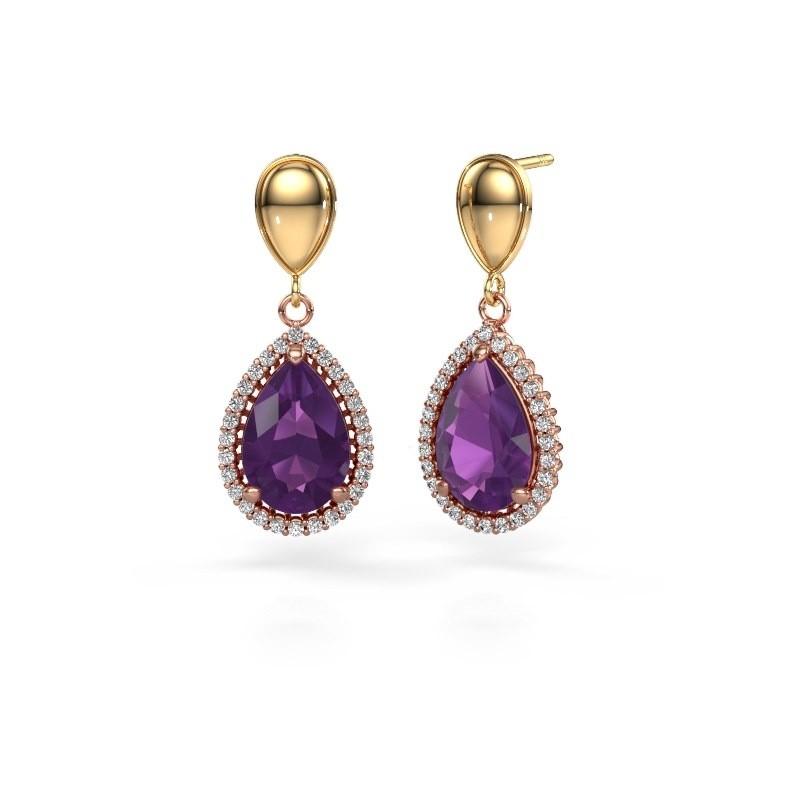 Drop earrings Cheree 1 585 rose gold amethyst 12x8 mm